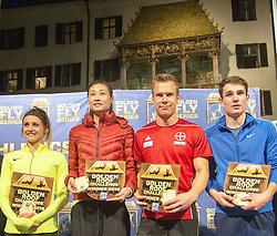 25.05.2016, Altstadt, Innsbruck, AUT, Golden Roof Challenge, Siegerehrung, im Bild v.l.n.r.: Siegerin im Weitspringen Lynique Prinsloo (RSA), Siegerin im Stabhochspringen Ling Li (CHN), Sieger im Weitspringen Markus Rehm (GER), Sieger im Stabhochspringen Robert Renner (SLO) // f.l.t.r.: Winner Long Jump Lynique Prinsloo of South Africa, Winner Pole Vault Ling Li of China, Winner Long Jump Markus Rehm of Germany, Winner Pole Vault Robert Renner of Slovenia during Winner Award Ceremony Golden Roof Challenge at the Altstadt in Innsbruck, Austria on 2016/05/25. EXPA Pictures © 2016, PhotoCredit: EXPA/ Jakob Gruber