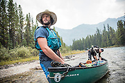 David Jackson and Dave Shively canoe the Bow River, Banff, Alberta.