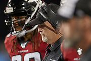 Atlanta Falcons head coach Dan Quinn looks on during the Pro Football Hall of Fame Game at Tom Benson Hall of Fame Stadium, Thursday, Aug. 1, 2019, in Canton, OH. The Broncos defeated the Falcons 14-10. (Robin Alam/Image of Sport)