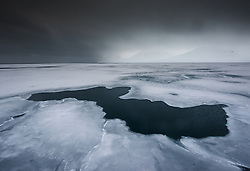 The ice has started to cover the surface in Liefdefjorden, Svalbard in end of March