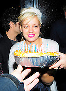 01.MAY.2008. LONDON<br /> <br /> A SOBER LILLY ALLEN ARRIVES AT GROUCHO CLUB, SOHO AT 12.30AM WITH SOME FRIENDS TO CELEBRATE HER 23RD BIRTHDAY, AFTER HER 3RD OR 4TH  FAG BREAK FORM DRINKING SOMEONE BROUGHT HER A CAKE AND SHE STOOD OUTSIDE WITH JAMES CORDEN AND SUGS AND EVERYONE SUNG HAPPY BIRTHDAY SHE THEN BLEW OUT THE CANDELS PICKED UP THE CAKE AND THREW IT ON THE FLOOR STAMPED ON IT THEN THREW IT AT THE PAPS, SHE THEN LEFT AT 2.00AM LOOKING VERY VERY DRUNK AND STAGGERED TO HER CAR AND ON THE WAY HOME SHE STOPPED OFF AT THE SHOPS AND GOT SOME MORE ALCOHOL AND THEN MADE HER WAY HOME TO CARRY ON THE PARTY.<br /> <br /> BYLINE: EDBIMAGEARCHIVE.CO.UK<br /> <br /> *THIS IMAGE IS STRICTLY FOR UK NEWSPAPERS AND MAGAZINES ONLY*<br /> *FOR WORLD WIDE SALES AND WEB USE PLEASE CONTACT EDBIMAGEARCHIVE - 0208 954 5968*
