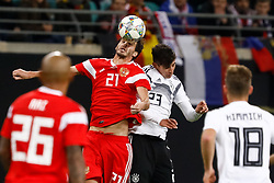 November 15, 2018 - Leipzig, Germany - Kai Havertz (R) of Germany and Aleksandr Erokhin of Russia vie for a header during the international friendly match between Germany and Russia on November 15, 2018 at Red Bull Arena in Leipzig, Germany. (Credit Image: © Mike Kireev/NurPhoto via ZUMA Press)