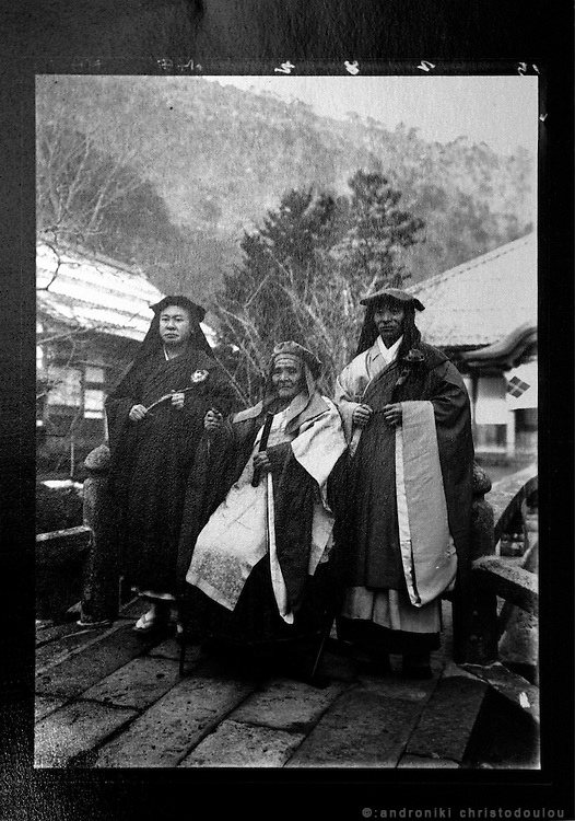 LIVING ZEN - HOSHINJI MONASTERY, OBAMA-JAPAN..Harada Soogaku (middle) was the 1st abbot of the monastery in 1920. There were 60 monks living in the monastery at his time.