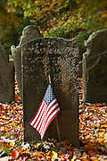 Grave stone with American flag, Connecticut