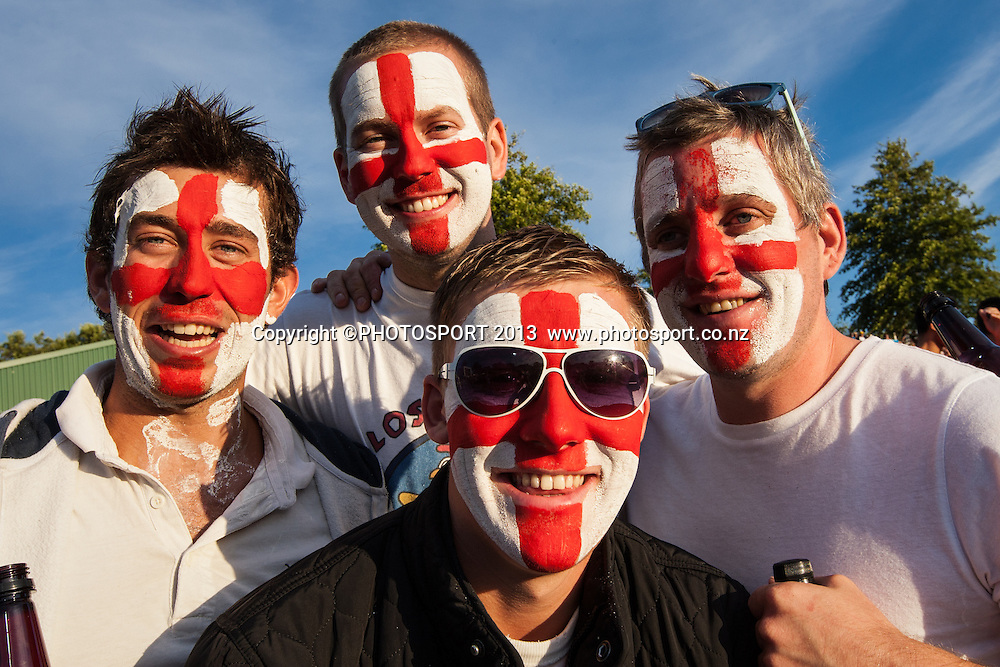 English fans with flags in face paint during the ANZ T20 Series. 2nd Twenty20 Cricket International. New Zealand Black Caps versus England at Seddon Park, Hamilton, New Zealand. Tuesday 12 February 2013. Photo: Stephen Barker/Photosport.co.nz