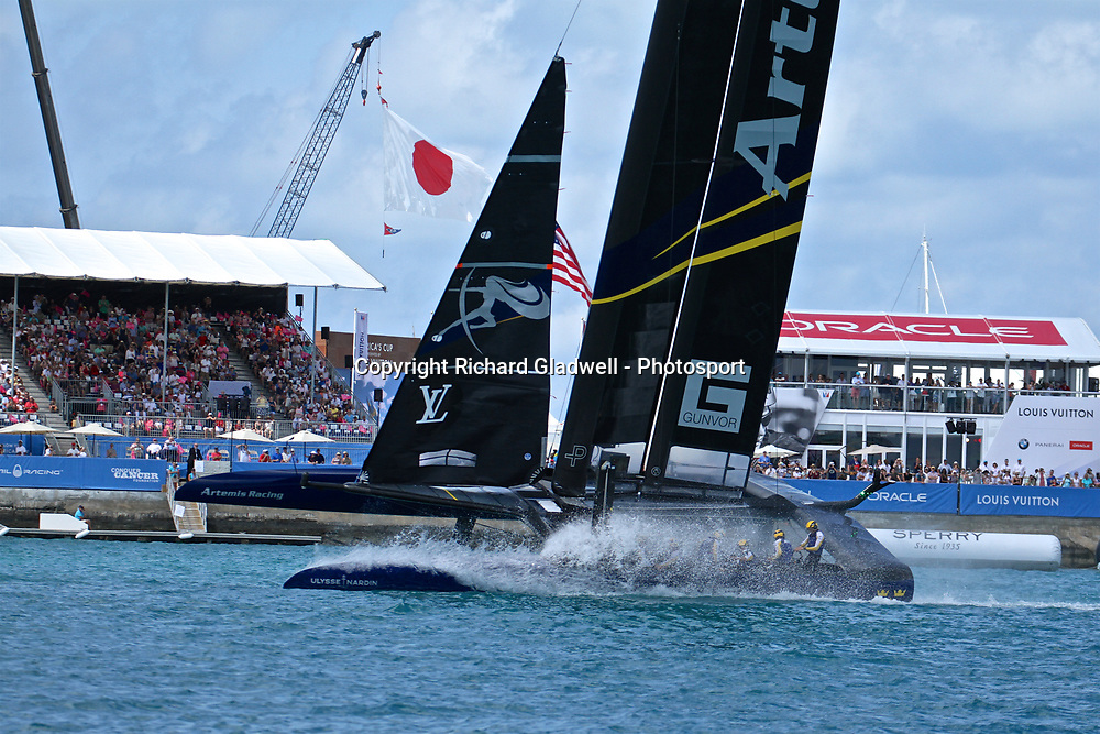 Race 10 - Artemis racing performs a spectacular victory roll for the crowded grandstands  - 35th America's Cup - Bermuda  May 28, 2017 . Copyright Image: Richard Gladwell / Sail World / www.photosport.nz
