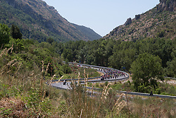The peloton reaches the first hill of Stage 9 of the Giro Rosa - a 122.3 km road race, between Centola fraz. Palinuro and Polla on July 8, 2017, in Salerno, Italy. (Photo by Balint Hamvas/Velofocus.com)