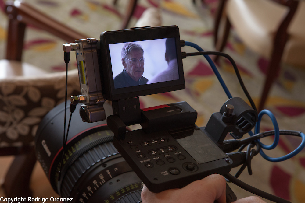The image of actor and environmental activist Harrison Ford can be seen on a camera's LCD screen during an interview in Jakarta, Indonesia. <br /> Harrison Ford visited Indonesia to learn more about deforestation, as one of the correspondents for Showtime's new documentary series about climate change Years of Living Dangerously.