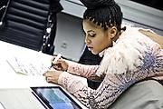 Frankfurt am Main | 19 Dec 2013<br /> <br /> Rola &amp; Alive Band live im Travolta in der Br&ouml;nnerstra&szlig;e in Frankfurt am Main, hier: Rola schreibt vor dem Gig in der Garderobe ihre Set List auf einen Zettel.<br /> <br /> &copy;peter-juelich.com<br /> <br /> [No Model Release | No Property Release]