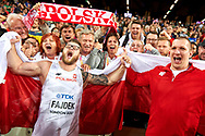 Great Britain, London - 2017 August 11: (L) Pawel Fajdek (Agros Zamosc) and Wojciech Nowicki (Podlasie Bialystok) both of Poland celebrate with their supporters  medals in men's hammer throw final during IAAF World Championships London 2017 Day 8 at London Stadium on August 11, 2017 in London, Great Britain.<br /> <br /> Mandatory credit:<br /> Photo by © Adam Nurkiewicz<br /> <br /> Adam Nurkiewicz declares that he has no rights to the image of people at the photographs of his authorship.<br /> <br /> Picture also available in RAW (NEF) or TIFF format on special request.<br /> <br /> Any editorial, commercial or promotional use requires written permission from the author of image.