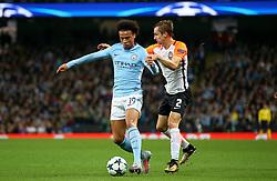 Leroy Sane of Manchester City takes on BohdanButko of Shakhtar Donetsk - Mandatory by-line: Matt McNulty/JMP - 26/09/2017 - FOOTBALL - Etihad Stadium - Manchester, England - Manchester City v Shakhtar Donetsk - UEFA Champions League Group stage - Group F