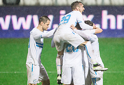 Players of Rijeka celebrate after Josip Elez of HNK Rijeka scored second goal for Rijeka during football match between HNK Rijeka and HNK Hajduk Split in Round #15 of 1st HNL League 2016/17, on November 5, 2016 in Rujevica stadium, Rijeka, Croatia. Photo by Vid Ponikvar / Sportida