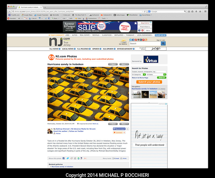 DIGITAL TEARSHEET:  October 30, 2014 in NEW YORK, NY.  (Photo by Michael Bocchieri/Bocchieri Archive)<br /> <br /> PUBLICATION DATE: October 29, 2014 8:41 AM <br /> PUBLICATION: nj.com<br /> CAPTION: Taxis sit in a flooded lot after Hurricane Sandy October 30, 2012 in Hoboken, New Jersey. The storm has claimed many lives in the United States and has caused massive flooding across much of the Atlantic seaboard. U.S. President Barack Obama has declared the situation a 'major disaster' for large areas of the U.S. east coast, including New York City, with widespread power outages and significant flooding in parts of the city. (Photo by Michael Bocchieri/Getty Images)<br /> <br /> URL: http://photos.nj.com/njcom_photos/2014/10/file_two_years_after_hurricane_sandy.html