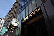 The Trump Tower street clock on Fifth Avenue, New York City.