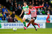Exeter City's Ollie Watkins who opened the scoring to give the visitors a 1-0 lead during the Sky Bet League 2 match between Yeovil Town and Exeter City at Huish Park, Yeovil, England on 9 April 2016. Photo by Graham Hunt.