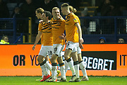 Goal Hull City Celebrate as Jarrod Bowen of Hull City scores a goal 0-1 during the EFL Sky Bet Championship match between Sheffield Wednesday and Hull City at Hillsborough, Sheffield, England on 1 January 2020.