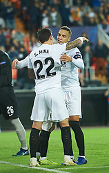 November 7, 2018 - Valencia, Valencia, Spain - Santi Mina and Rodrigo Moreno of Valencia CF celebrates a goal during the UEFA Champions League group H match between Valencia FC and  Young Boys at Mestalla Stadium on November 7, 2018 in Valencia, Spain  (Credit Image: © Maria Jose Segovia/NurPhoto via ZUMA Press)