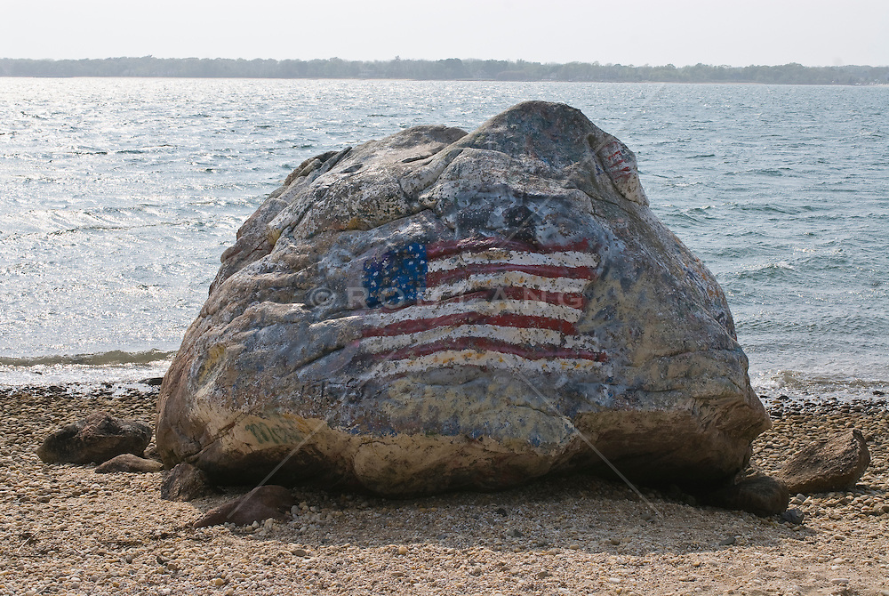 painted flog on a rock by the beach on Shelter Island, NY
