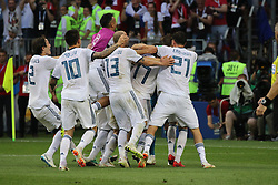 July 1, 2018 - Moscow, Russia - July 01, 2018, Russia, Moscow, FIFA World Cup 2018, the playoff round. Football match Spain - Russia at the stadium Luzhniki. Player of the national team Victory; Champions; joy; emotions. (Credit Image: © Russian Look via ZUMA Wire)