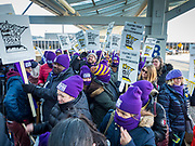 28 FEBRUARY 2020 - MINNEAPOLIS, MINNESOTA: Members of the SEIU Local 26 picket an entrance to the Minneapolis St. Paul International Airport. About 4,000 janitorial and custodial workers represented by the Service Employees International Union (SEIU) Local 26 in the Twin Cities are on an Unfair Labor Practices (ULP) strike for better wages and benefits. Friday morning they picketed  the Minneapolis-St. Paul International Airport Friday morning.         PHOTO BY JACK KURTZ