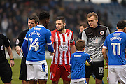 Accrington Stanley Midfielder, Seamus Conneely (28) captain shakes the players hands during the EFL Sky Bet League 2 match between Portsmouth and Accrington Stanley at Fratton Park, Portsmouth, England on 11 February 2017. Photo by Adam Rivers.
