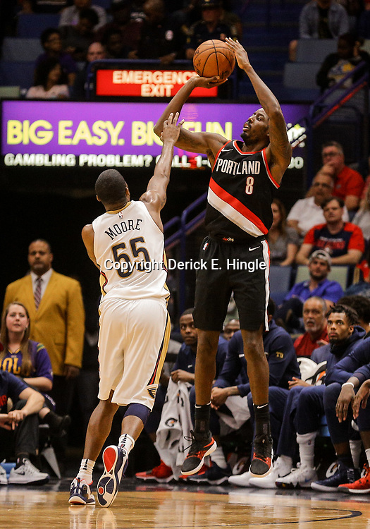 Mar 27, 2018; New Orleans, LA, USA; Portland Trail Blazers forward Al-Farouq Aminu (8) shoots over New Orleans Pelicans forward E'Twaun Moore (55) during the second quarter at the Smoothie King Center. Mandatory Credit: Derick E. Hingle-USA TODAY Sports