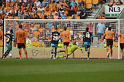 Sheffield Wednesday midfielder Lewis McGugan scores a penalty 1-2 during the Sky Bet Championship match between Wolverhampton Wanderers and Sheffield Wednesday at Molineux, Wolverhampton, England on 7 May 2016. Photo by Alan Franklin.