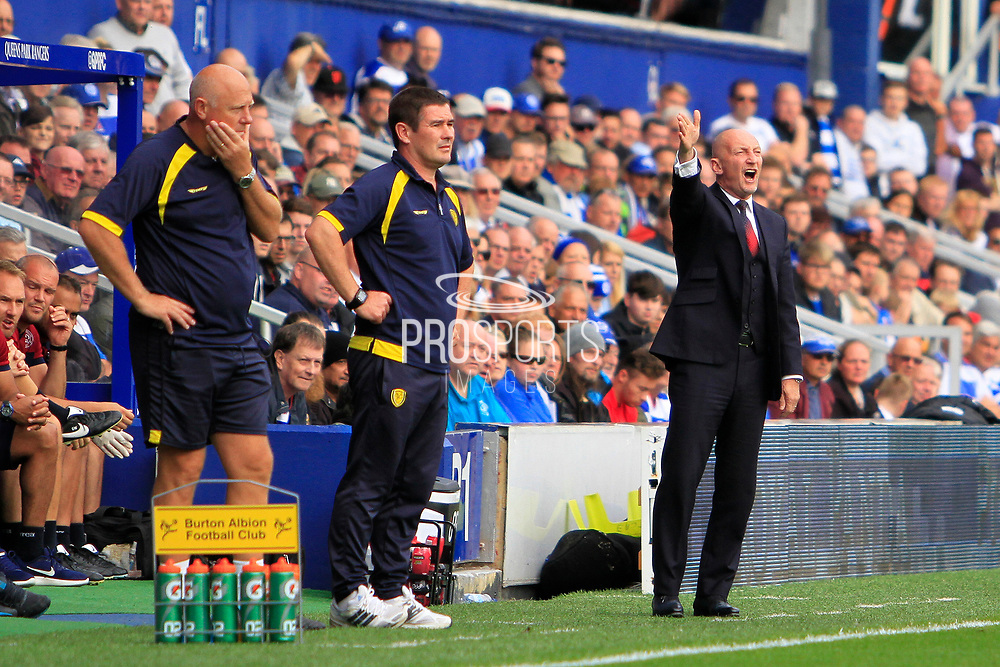 Queens Park Rangers manager Ian Holloway (right) reacts during the EFL Sky Bet Championship match between Queens Park Rangers and Burton Albion at the Loftus Road Stadium, London, England on 23 September 2017. Photo by Richard Holmes.