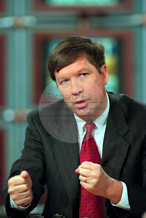 U.S. Rep. John Kasich of Ohio, announces the formation of an exploratory committee to run for the Republican nomination for President in the 2000 elections during the Sunday political talk show, Meet the Press, on NBC-TV February 14, 1999 in Washington, DC.