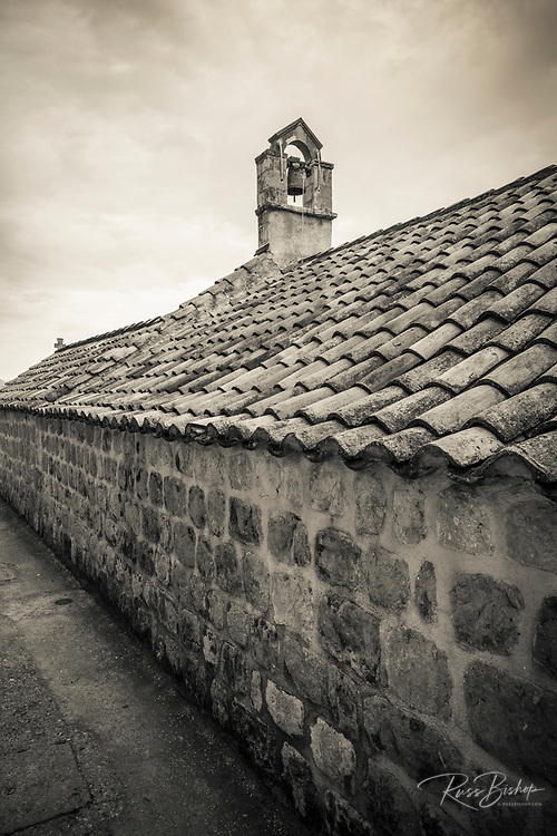 Belltower and tile roof, Church of St George, Sudurad, Sipan Island, Dalmatian Coast, Croatia
