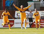 Michael Higdon celebrates after scoring Motherwell's winner - Dundee v Motherwell, Clydesdale Bank Scottish Premier League at Dens Park.. - © David Young - 5 Foundry Place - Monifieth - DD5 4BB - Telephone 07765 252616 - email: davidyoungphoto@gmail.com - web: www.davidyoungphoto.co.uk