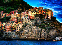 """Sunset view of Manarola from the blue Tyrrhenian Sea""…<br />