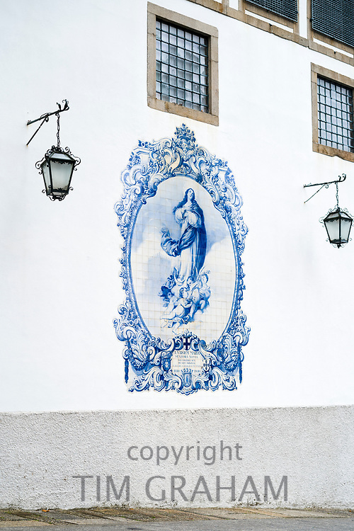 Blue and white azulejos ceramic tiles of Convent Church of Carmo in Guimaraes in Northern Portugal