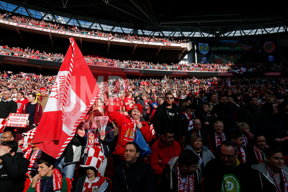 Bristol City fans in the stands - Photo mandatory by-line: Rogan Thomson/JMP - 07966 386802 - 22/03/2015 - SPORT - FOOTBALL - London, England - Wembley Stadium - Bristol City v Walsall - Johnstone's Paint Trophy Final.