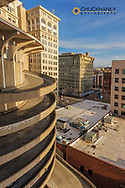 Spiral drive down from parking garage in downtown Spokane, Washington, USA
