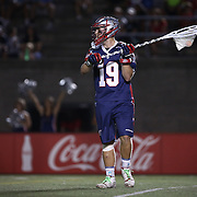 Austin Kaut #19 of the Boston Cannons controls the ball during the game at Harvard Stadium on August 9, 2014 in Boston, Massachusetts. (Photo by Elan Kawesch)
