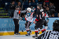 KELOWNA, CANADA -FEBRUARY 25: Tyrell Goulbourne #12 of the Kelowna Rockets celebrates his third goal against the Prince George Cougars on February 25, 2014 at Prospera Place in Kelowna, British Columbia, Canada.   (Photo by Marissa Baecker/Getty Images)  *** Local Caption *** Tyrell Goulbourne;