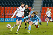 Tottenham Hotspur Women Ashleigh Neville (21), Manchester City Women striker Georgia Stanway (10) during the FA Women's Super League match between Tottenham Hotspur Women and Manchester City Women at the Hive, Barnet, United Kingdom on 5 January 2020.
