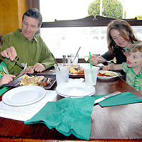 Santa Monica Councilmember Terry O'Day, with his wife Tiffany and daughters Teagan, 6, and Taryn, 4, eat a traditional Irish breakfast at Finn McCool's during St. Patrick's Day March 17, 2011......