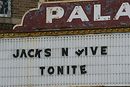 29 June 2009 - Gary, IN..The Palace Theater in downtown Gary Indiana remains closed and boarded up.  The Jackson Five marquee on the Palace was put up for show during a Miss USA pageant.  After leaving Gary the band was advised to change their name to the Jackson 5 in 1969...Photo Credit: Heather A. Lindquist/SIPA....
