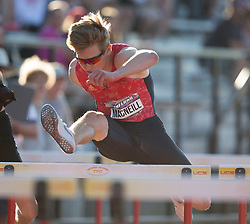(Guelph, Canada---07 June 2019) Matthew MacNeill running in the junior boys 110m hurdles at the 2019 Speed River Inferno Track and Field Festival held at Alumni Stadium at the University of Guelph. Copyright image 2019 Sean W Burges / Mundo Sport Images
