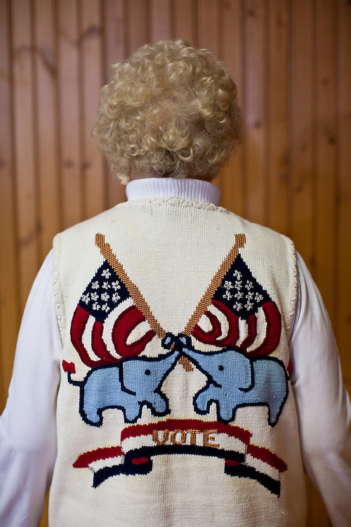 Phyllis Morrison, a supporter of Republican presidential candidate Mitt Romney from Davenport, Iowa, poses for a portrait before Romney holds a campaign rally at the Mississippi Valley Fairgrounds on Monday, January 2, 2012 in Davenport, IA.