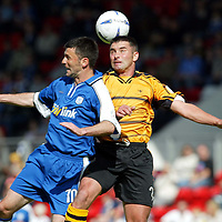 St Johnstone v Alloa.. 31.08.02<br />Paddy Connolly and Craig Valentine<br /><br />Pic by Graeme Hart<br />Copyright Perthshire Picture Agency<br />Tel: 01738 623350 / 07990 594431