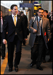 """Deputy Prime Minister Nick Clegg with his Chief of Staff Jonathan """"Jonny"""" Oates at Stratford International Rail Station to the attend a Cabinet meeting at the Olympic park, January 2012. Photo by Andrew Parsons/i-Images"""