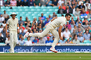 James Anderson of England bowling during day 3 of the 5th test match of the International Test Match 2018 match between England and India at the Oval, London, United Kingdom on 9 September 2018.