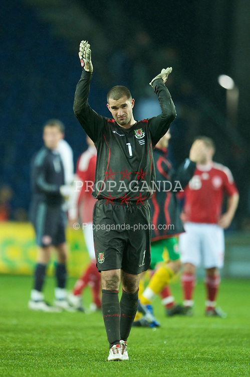 COPENHAGEN, DENMARK - Wednesday, November 19, 2008: Wales' goalkeeper Boaz Myhill after his side's 1-0 victory over Denmark during the international friendly match at the Brøndby Stadium. (Photo by David Rawcliffe/Propaganda)