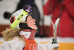February 11, 2018 - Pyeongchang, South Korea - JUSTINE DUFOUR-LAPOINTE of Canada celebrates at the finish line after winning the silver medal at the Womens Moguls finals Sunday, February 11, 2018 at Phoenix Snow Park at the Pyeongchang Winter Olympic Games.  Photo by Mark Reis, ZUMA Press/The Gazette (Credit Image: © Mark Reis via ZUMA Wire)