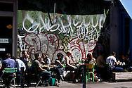 New York cafe terrace in NOLITA trendy area New York - United states  / Quartier branche NOLITA  New York - Etats-unis  /