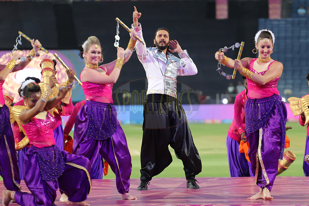 Ritesh Deshmukh performs during match 2 of the Vivo 2017 Indian Premier League between the Rising Pune Supergiants and the Mumbai Indians held at the MCA Pune International Cricket Stadium in Pune, India on the 6th April 2017<br /> <br /> Photo by Ron Gaunt - IPL - Sportzpics