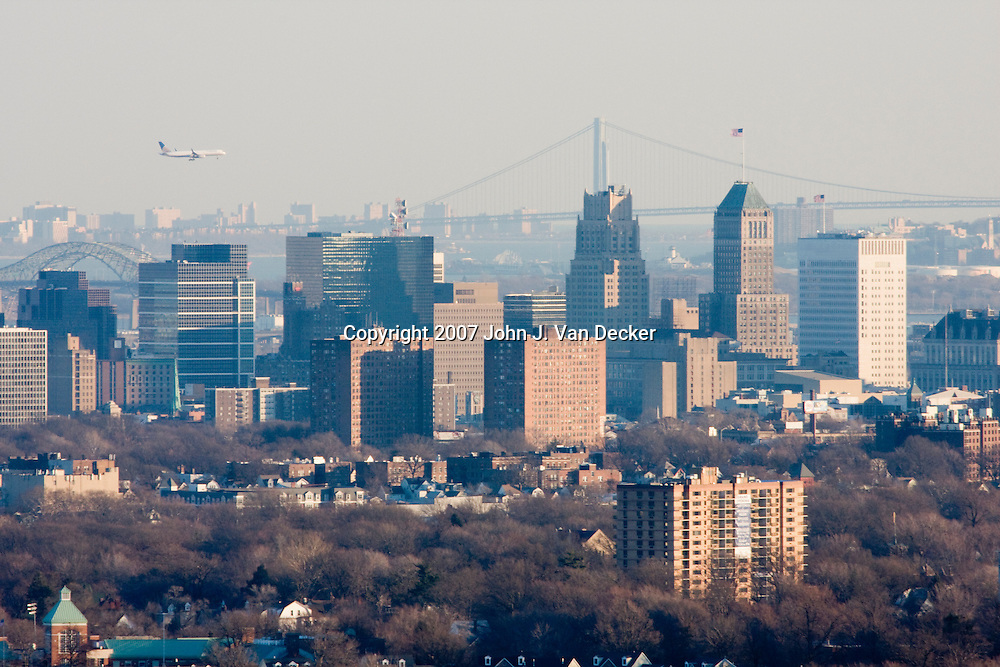 Newark, New Jersey Skyline. Viewed from the west. The Verranzano Narrows bridge (NY) and the Bayonne Bridge are visible in the background.